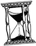 hourglass image in black and white