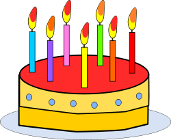 birthday cake with candles - CC Open Clip Art Gallery