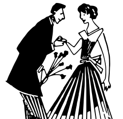 man and woman with flowers, clipart from Open Clipart