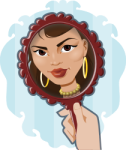Vain woman in mirror - clip art from OpenClipArt