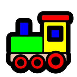 colourful toy train, clipart from OpenClipArt