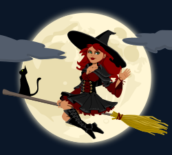 cartoon witch on a broomstick, clipart from OpenClipArt