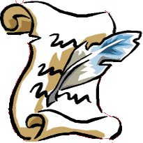 Feather quill writing on parchment icon