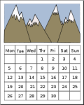 generic calendar with mountains from OpenClipArt