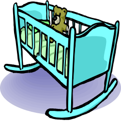 Cradle and Teddy Bear from OpenClipArt