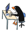 cute cartoon penguine at a computer from OpenClipArt