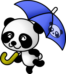 Panda under an umbrella from OpenClipArt