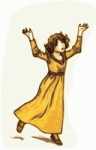 little girl in gold dress OpenClipArt