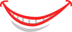 wide red lips smiling OpenClipArt