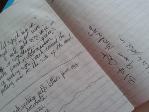 Senseless handwritten scrawls in my working notebook