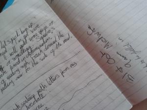 Senseless handwritten scrawls in my working notebook
