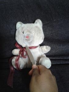 Bear with knife