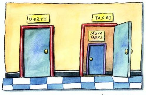 death and taxes comic, two doors