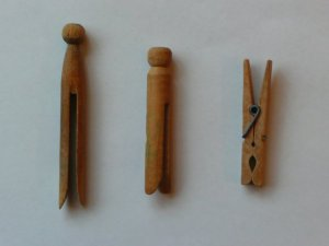 various wooden pegs