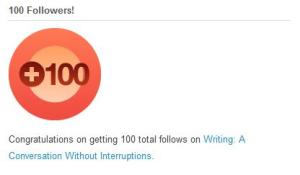 100 follows award from wordpress.com