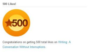 500 likes award from wordpress.com