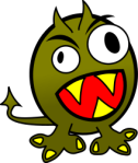angry green monster with teeth - from OpenClipArt