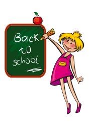 back to school girl with apple from OpenClipArt