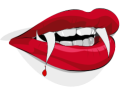 nice red vampire lips with blood and teeth, from OpenClipArt