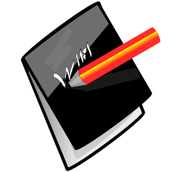black notebook and red pencil from OpenClipArt