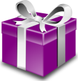 Purple present from OpenClipart