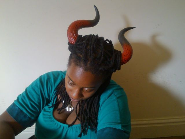 picture of me wearing my LARP horns