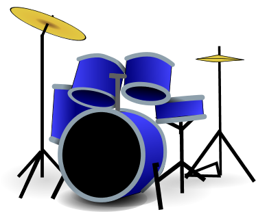 set of drums, in blue