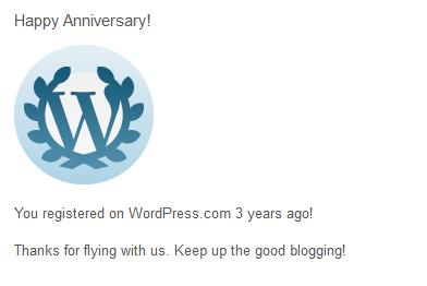 happy anniversary notification from wordpress