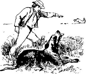 Man and dog hunting, clipart from openclipart.com
