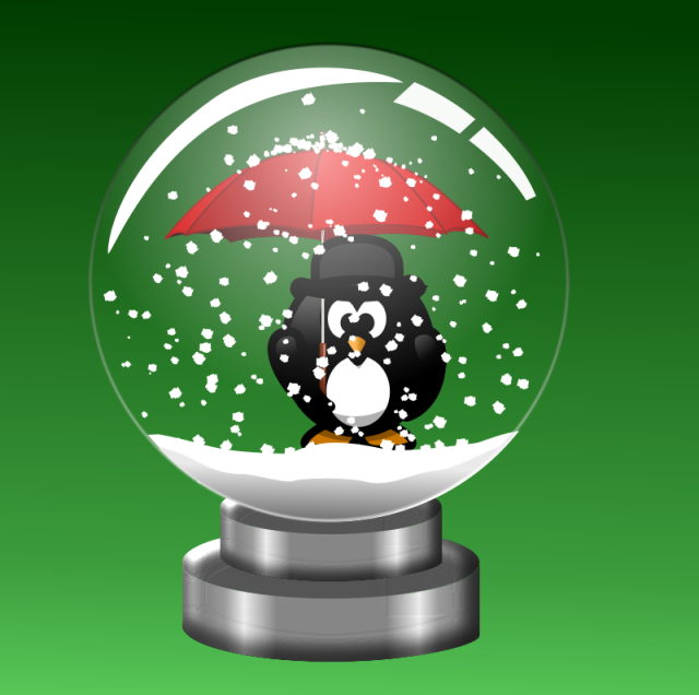 black and white penguin in a snowglob, holding an umbrella from openclipart.com