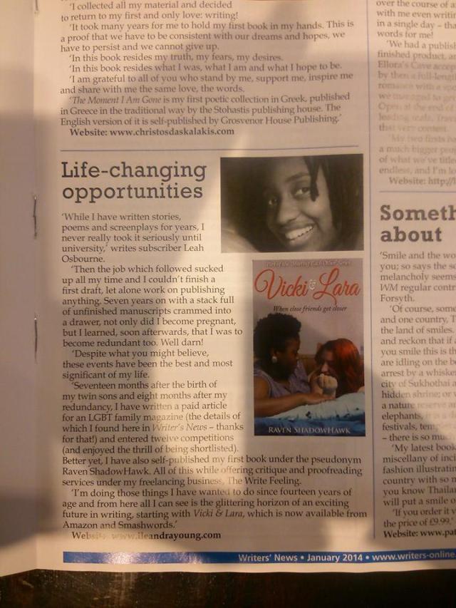 Vicki & Lara piece in Writing Magazine