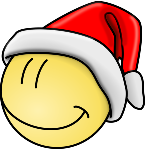 yellow smilie face in santa hat from openclipart.com