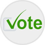 white button with green vote, with a tick