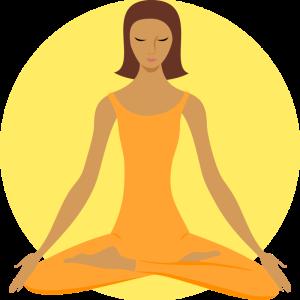 Meditating woman, lotus pose, yoga, buddhist