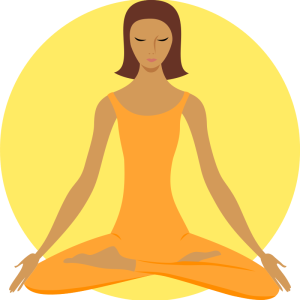 Meditating woman, lotus pose, yoga, buddhist