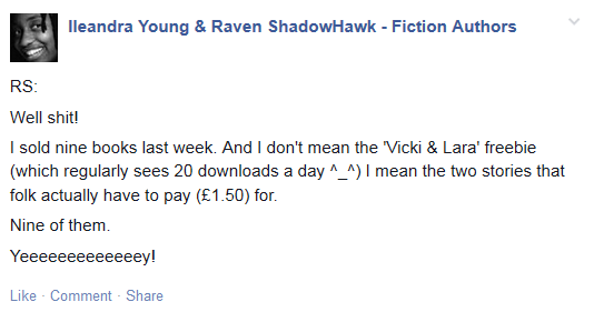 Screenshot of Facebook status re book sales.