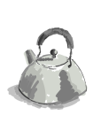 a kettle in black, white and grey