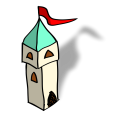 Small tower with red pennant