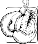 black and white pair of boxing glvoes
