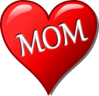 red heart with 'mum' written inside