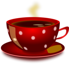 red spotted cup of tea