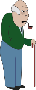 grandpa with a walking stick, clipart