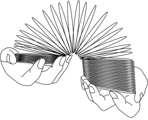 two hands holding a slinky