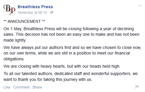 Facebook announcement of Breathless Press closure