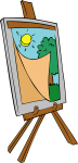 painting on an easel