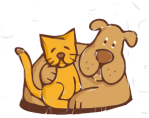 friends, cat and dog from openclipart